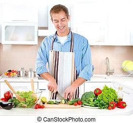 jadło, młody mężczyzna, cooking., zdrowy