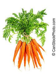 jadło, marchew, leaves., zielony, vegetable., świeży