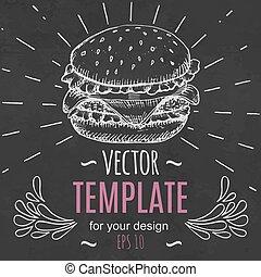 jadło, menu, mocny, ręka, wektor, projektować, szablon, pociągnięty