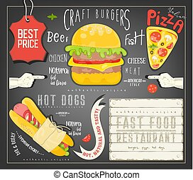 jadło, menu, mocny, szablon