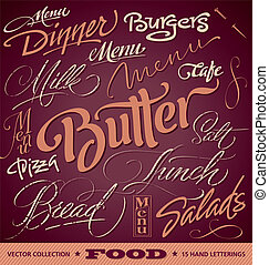 jadło, menu, nagłówki, komplet, (vector)