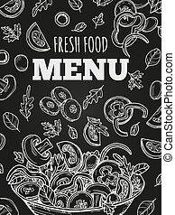 jadło, menu, osłona, wektor, chalkboard, szablon, świeży