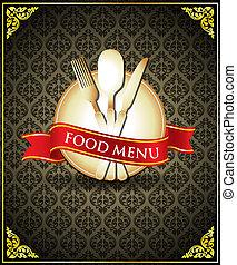 jadło, menu, wektor, osłona, szablon