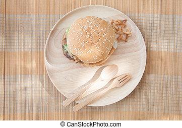 jadło, mocny, tradycyjny, drewno, taca, hamburgery