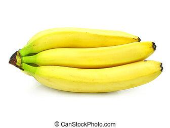 jadło, odizolowany, żółty, grono, owoce, biały, banan