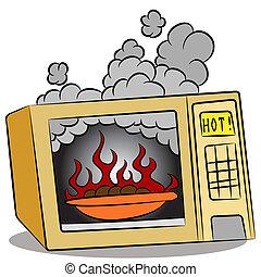 jadło, płonący, microwave piec