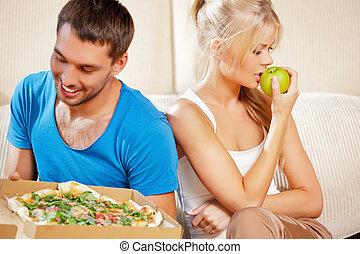 jadło, para, jedzenie, różny
