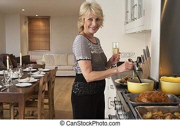 jadło, partia, obiad, kobieta, przygotowując
