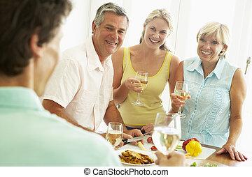 jadło, partia, obiad, przygotowując, człowiek