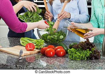 jadło, partia, przygotowując, kobiety
