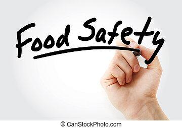 jadło, pisanie, ręka, markier, bezpieczeństwo