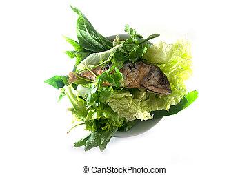 jadło, roślina, makrela, smażył, thai