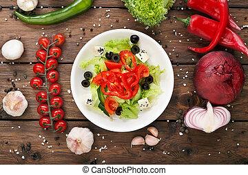 jadło, roślina, -, sałata, zdrowy, restauracja