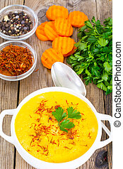 jadło, szafran, zupa, dieta, roślina, śmietanka