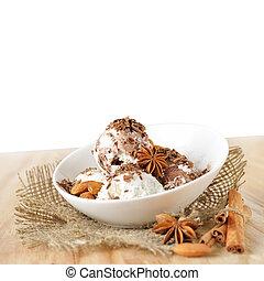 jadło, szufelki, orzechy laskowe, lód, czekolada, tło.,...