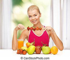 jadło, truskawka, jedzenie, kobieta, organiczny
