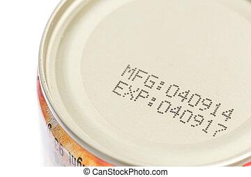 jadło, w puszkach, data, wydech, makro