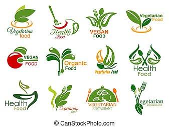 jadło, wegetarianin, restauracja, organiczny, ikony