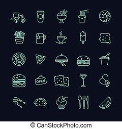 jadło, wektor, komplet, mocny, ikony