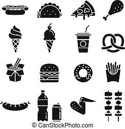 jadło, wektor, mocny, icons., illustrations.