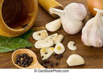jadło, zdrowy, komplet, drewno, przyprawy