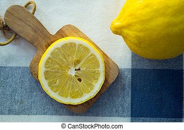 jadło, zdrowy, kromka, twórczy, cytryna