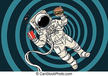 jadło, zero, astronauta, powaga, mocny