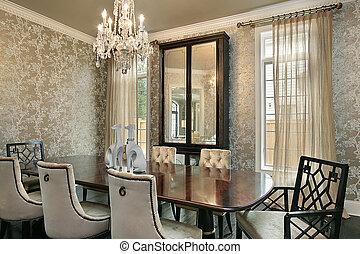 jadalny pokój, w, luksus dom