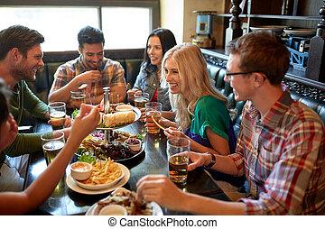 jadalny, restauracja, piwo, picie, przyjaciele