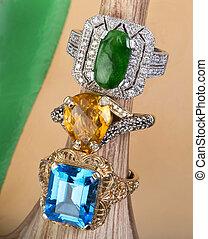 jade, anillos, topacio,  Citrine