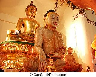jade, buddha, buddha, oro