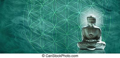 Jade Buddha meditating on the Flower of Life