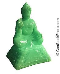 Jade Buddha Statue - 1 - Statue of a green jade buddha, 3d...