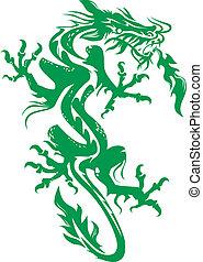 A tattoo like image of a green dragon