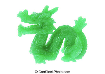 Jade Dragon Ornament on White Background