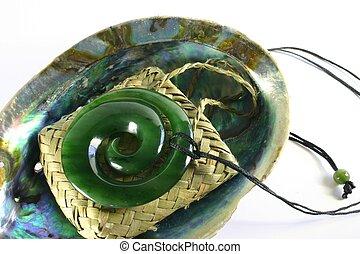 jade, esculpido, pendente