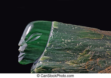 jade head - Jade carving of human head in natural...