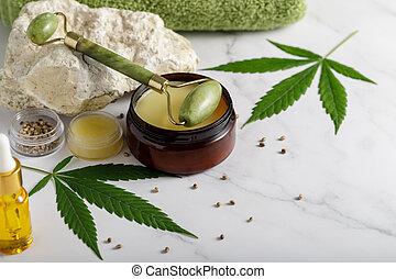 jade, masser pétrole, crème, facial, rouleau, chanvre, anti-vieillissement, cannabis, peau