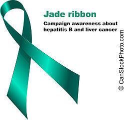 Jade ribbon. Campaign awareness about hepatitis B and liver...