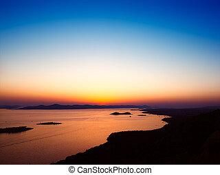 jadran, západ slunce