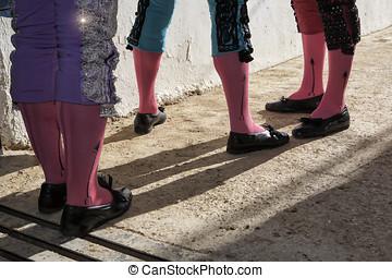 jaen,  15, 八月,  BULLRING, 最初,  -, 省,  Andalusia,  Bullfighters,  2010:,  paseillo,  Bullfight,  baeza,  baeza, 或者, 西班牙, 遊行