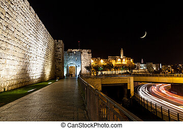 Jaffa Gate, Jerusalem - View of Jerusalem wall and Jaffa...