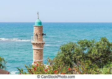 jaffa, minaret, stary, israel., meczet