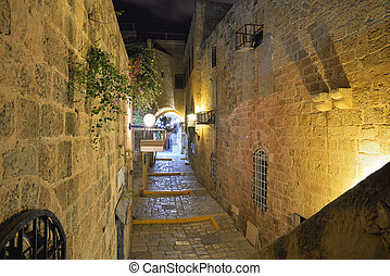 Jaffa old city - stone old city Jaffa in Tel Aviv at night