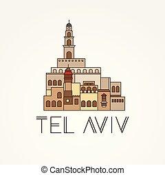 Jaffa Portr - The symbol of Tel Aviv, Israel. Trendy vector...