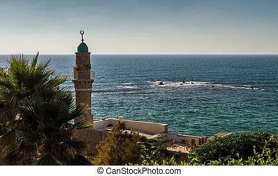 jaffa, stary, minaret