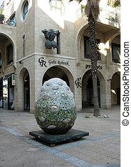 Modern Sculpture in Yerushalayim Avenue of Jaffa, Israel