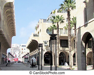 Modern sculpture and new homes on Yerushalayim Avenue in Jaffa, Israel