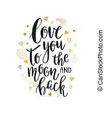 jag älskar dig, till, månen, och, baksida
