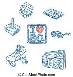 jag, kärlek, den, 80, doodles